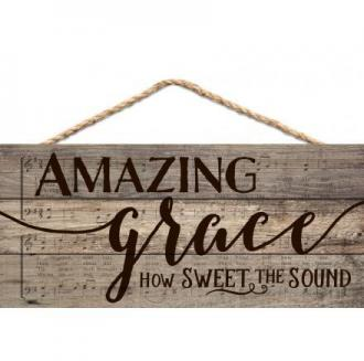 HSA 0132 Veggdekor - Amazing Grace How Sweet The Sound (11x 25 cm)